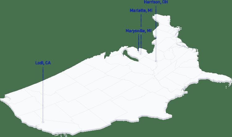 美国地图显示中心钢铁在洛迪的位置, CA; Marysville, MI; Marlette, MI, 和哈里森, OH