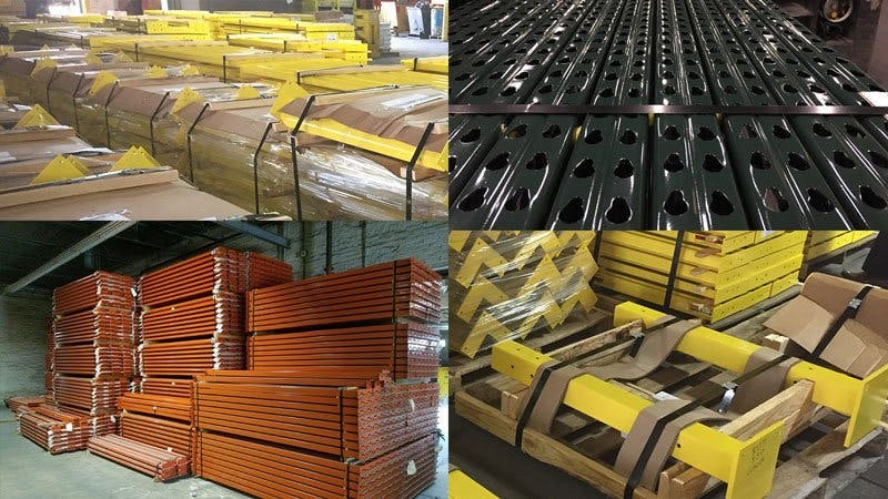 collage of four images of ready made rack and safety products in organized stacks in shipping Lodi, CA shipping facility
