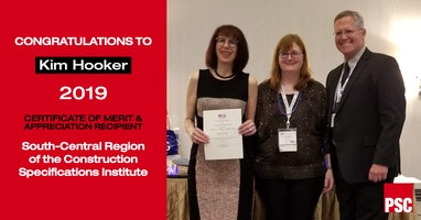 Kim Hooker Awarded CSI Certificate of Merit and Appreciation