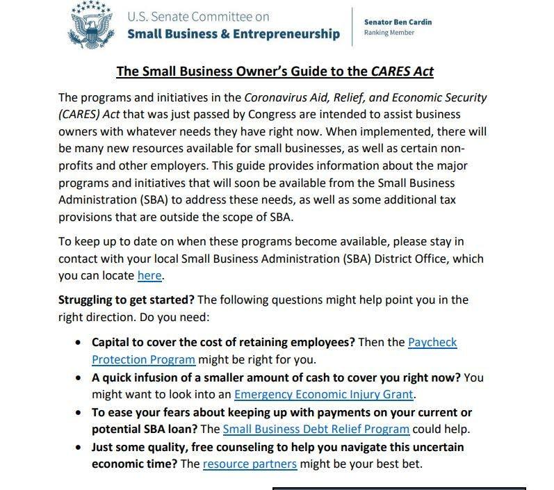 Cares Act US Senate FAQ
