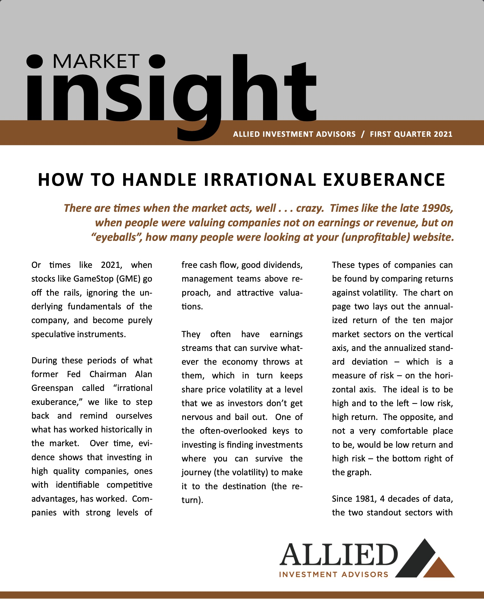 Q1 2021:   How to Handle Irrational Exuberance - Upload 1