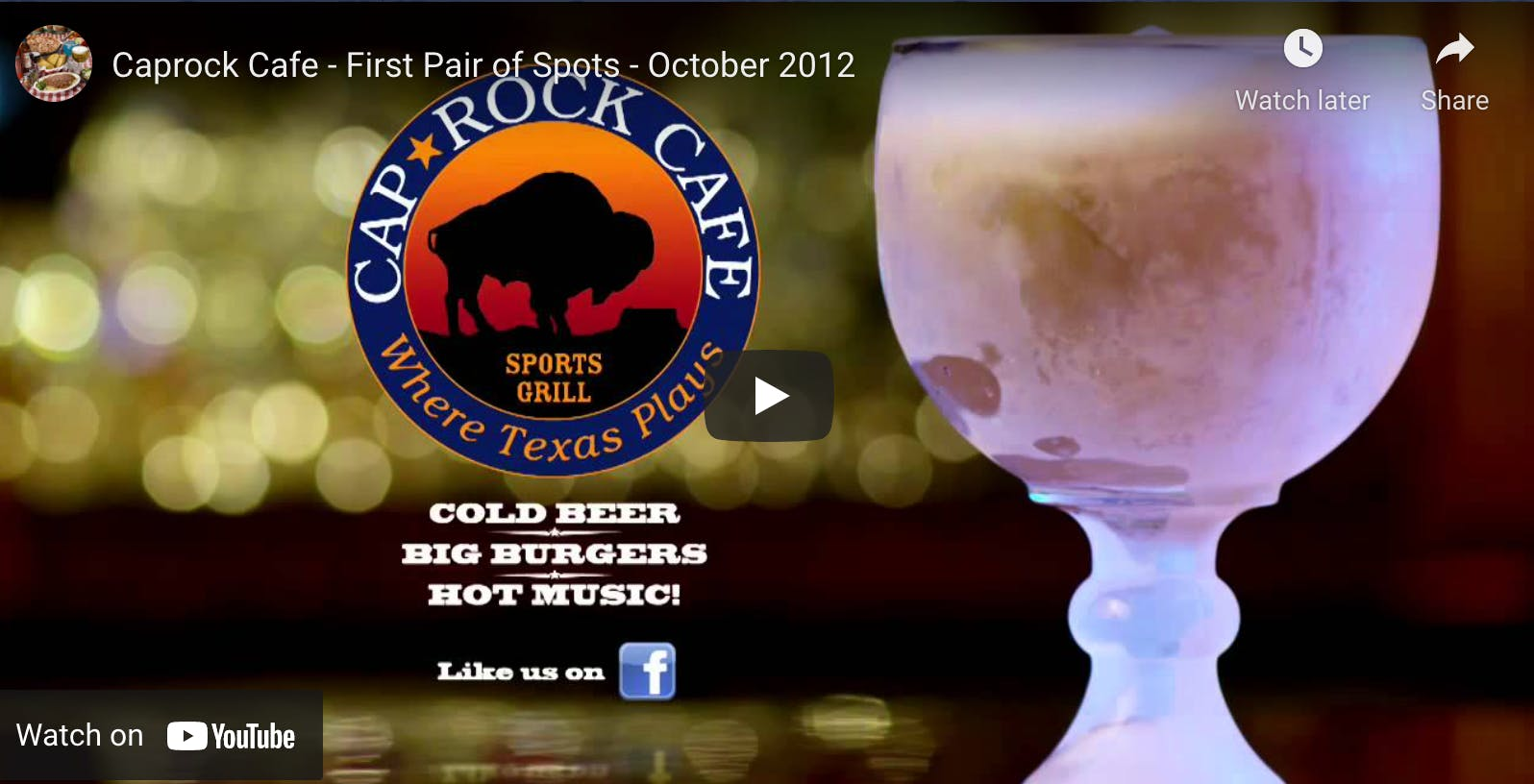 Caprock Cafe - First Pair of Spots - October 2012